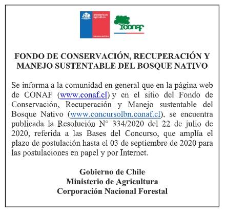Aviso Ley del Bosque Nativo 2020