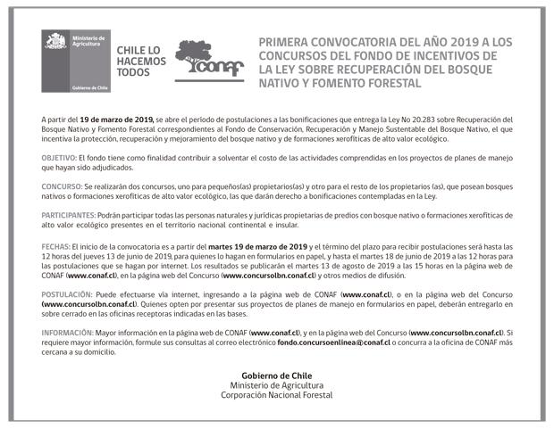 Concurso 2019 Fondo De Conservación ley del Bosque Nativo