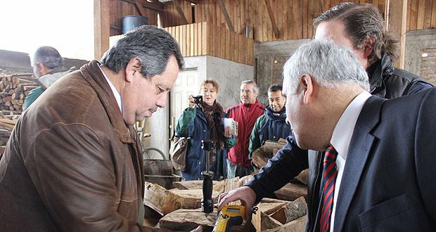 Alcalde de Chillán pudo medir la calidad de una de las astillas que se venden en el lugar, comprobando que contiene 25% menos de humedad.