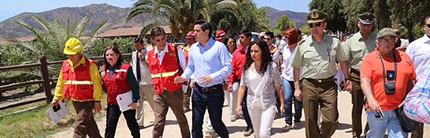 Ministro del Interior coordinó en terreno trabajo para control de incendio en Peralillo