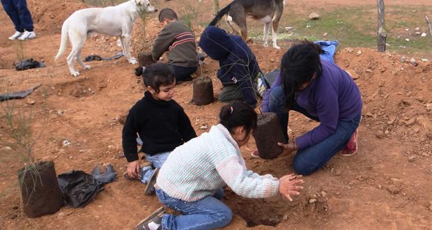 Una gran cantidad de niños participó activamente en la plantación de árboles y se comprometieron a cuidarlos.
