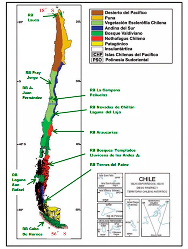 Ubicación de las reservas de biosfera en Chile