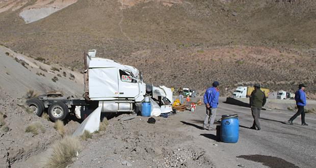 El nuevo accidente al interior del Parque Nacional Lauca se produjo en el sector de la quebrada Taipicahue, en el kilómetro 141 de la ruta internacional 11 Ch.