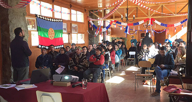 Conversatorio sobre el estado de la araucaria, que organizó la municipalidad de Lonquimay y el Colegio de ingenieros forestales y en el que participaron lonkos, líderes mapuche y pehuenches de los territorios de Curarrehue, Santa Bárbara y Lonquimay; la academia y CONAF.