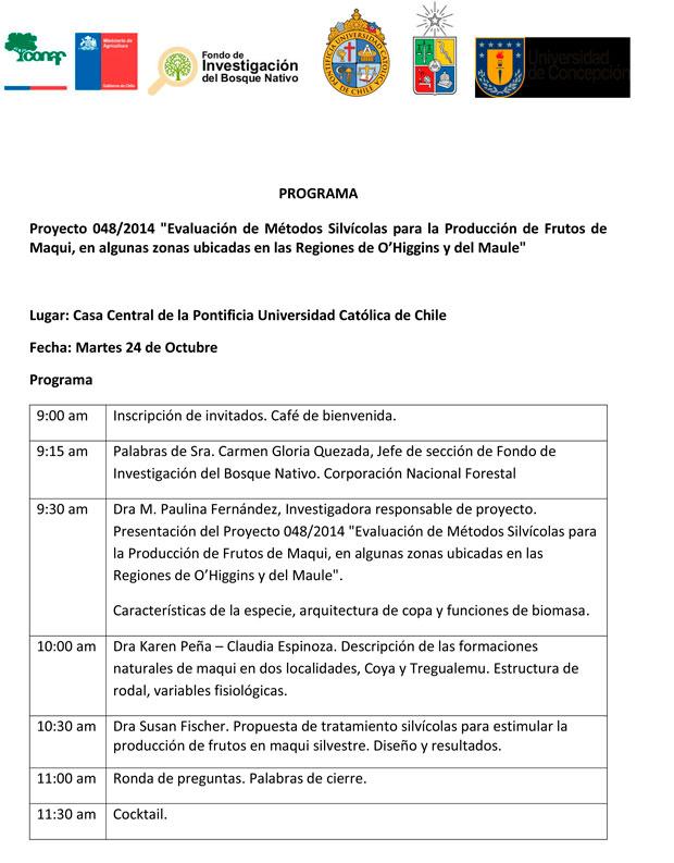 Evaluación de métodos silvícolas para la producción de frutos de maqui, en algunas zonas ubicadas en las regiones de O'Higgins y del Maule