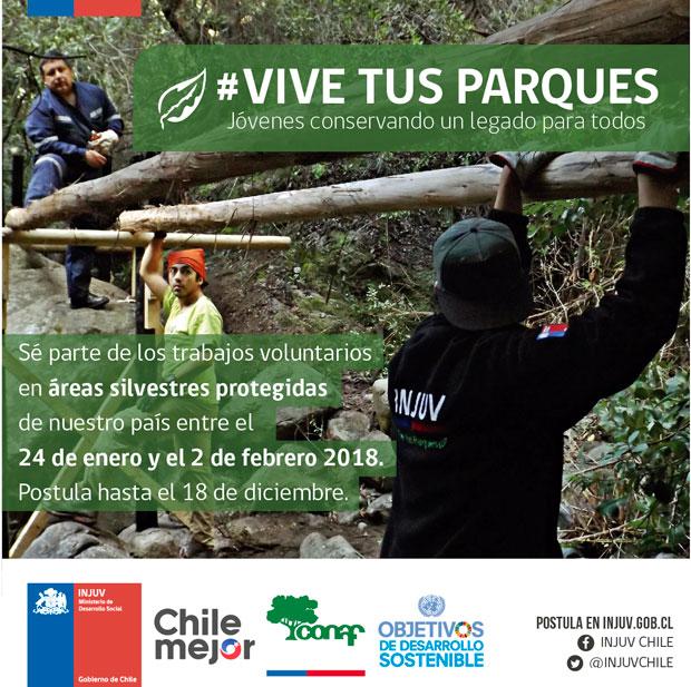 Postula a los trabajos de verano Vive Tus Parques 2018
