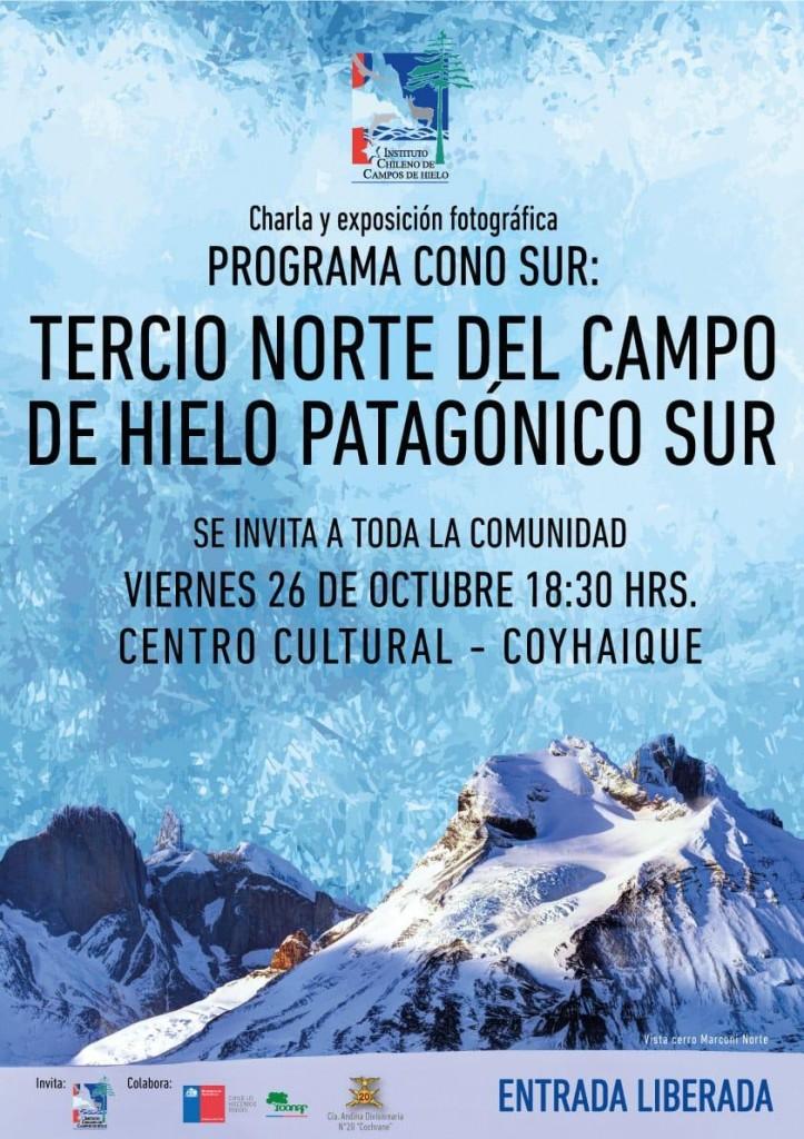 """charla y exposición fotográfica  """"Programa Cono sur: Tercio Norte del Campo de Hielo Patagónico Sur"""