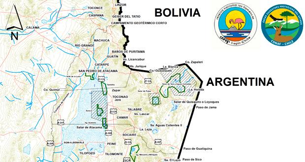 Mapa Reserva Nacional Los Flamencos.