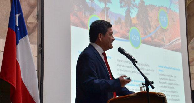 Cuenta pública de la gestión 2018 de la Corporación Nacional Forestal (CONAF), que realizó el director ejecutivo de la entidad, José Manuel Rebolledo, en el Salón Mural de la Intendencia de la Región del Biobío, en Concepción.