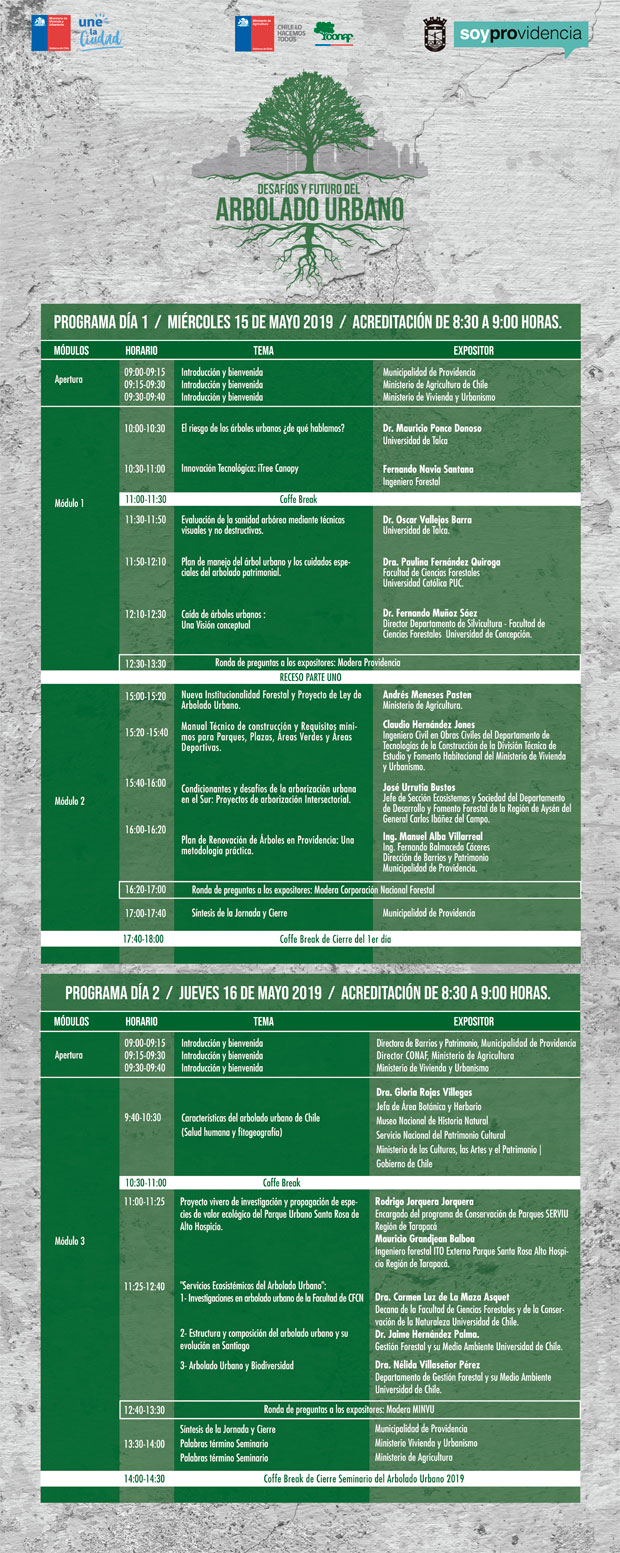 Programa Seminario 'Desafíos y Futuro del Arbolado Urbano'