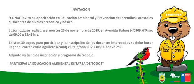 apacitación  en Educación Ambiental y Prevención de Incendios Forestales a docentes de niveles prebásico y básico.