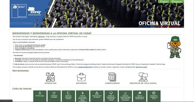 La dirección de acceso a la plataforma es https://oficinavirtual.conaf.cl