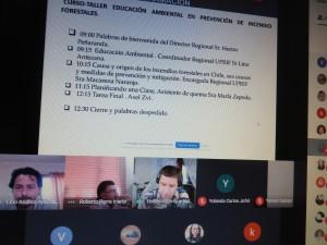 Por CONAF participaron del taller Lino Antezana coordinador de la Unidad de Prevención de Incendios Forestales, Macarena Naranjo encargada de la unidad, Axel Cisternas, fiscalizador, María Pilar Zepeda, asistente de quemas y Andrés Jiménez, encargado de la Oficina de Informaciones.