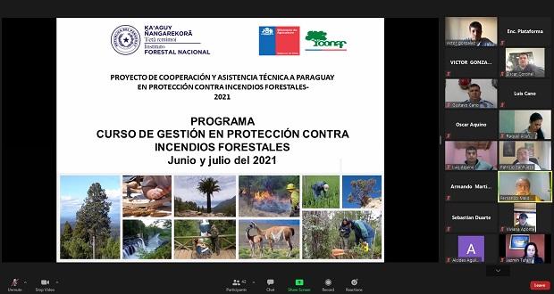 La iniciativa forma parte del Proyecto de Cooperación y Asistencia Técnica en Protección contra Incendios Forestales de Chile a la República del Paraguay 2020-2021.