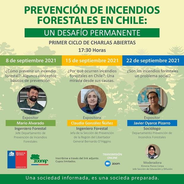 CONAF dictará charlas abiertas en prevención de incendios forestales